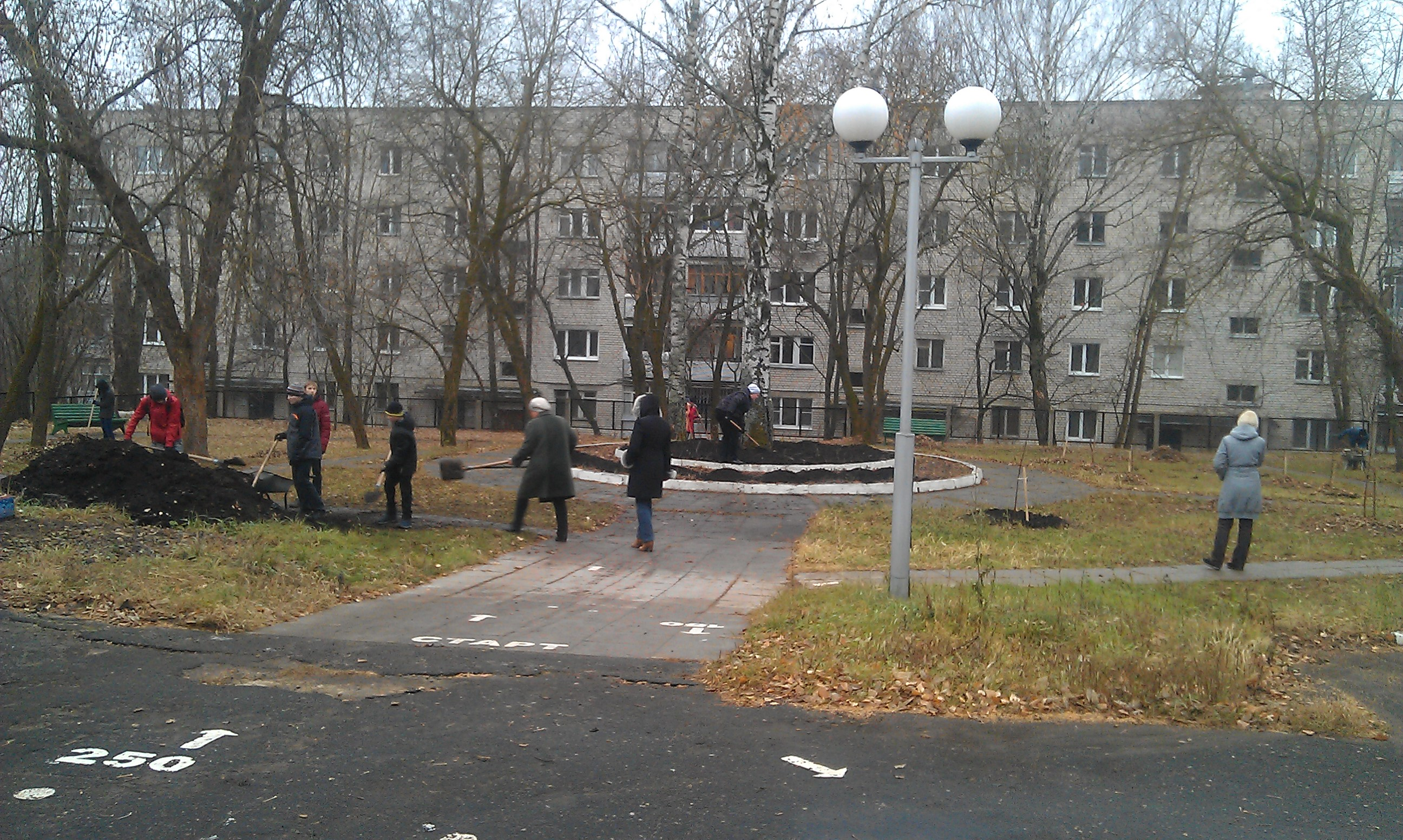 Школьники укрывают саженцы